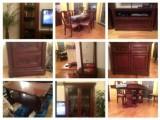 Set obývák + jídelna - masivní dřevo 9ks nábytku